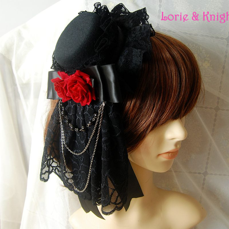 Mini sombrero de copa retro con tocado y flores de lolita - Disfraces