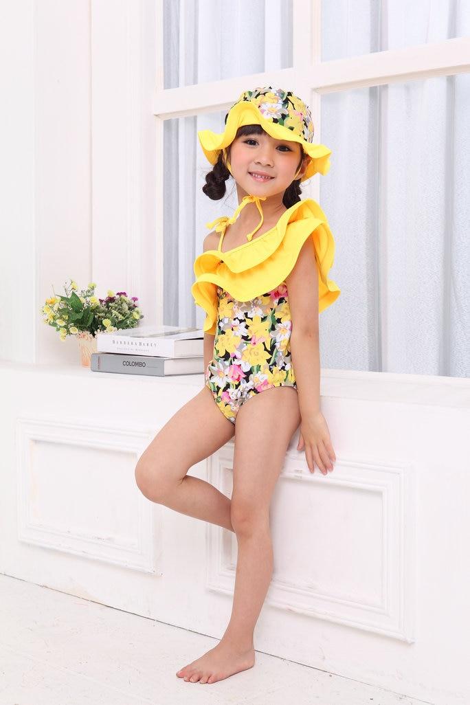 Summer kids swimsuits girls bikini one piece swimwear girl bathing suits+hat ruffle kids swimwear swimsuit 2 PCS