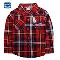 Boy t shirt novatx marca plaid largas camiseta de los muchachos manga de 2016 del otoño niños camisetas camisas de los niños para niños ropa