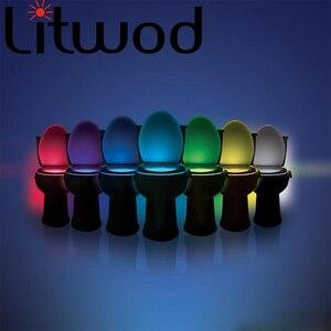 Image 1 - Livraison directe Smart PIR capteur de mouvement siège de toilette veilleuse 8 couleurs rétro éclairage cuvette de toilette lampe à LED WC lumière AAA carte de batterie