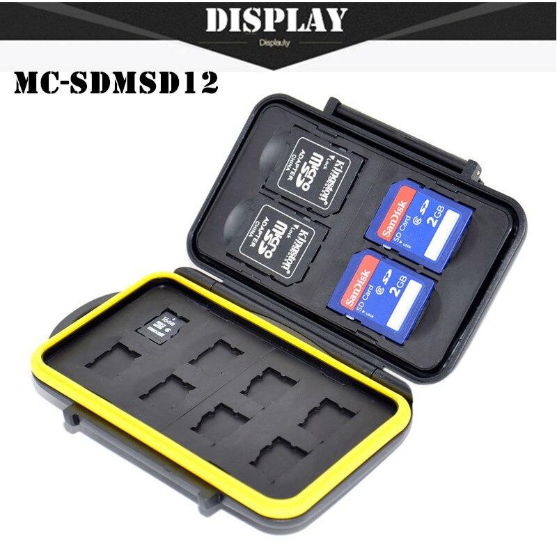 Envío libre SDMSD12 Memoria sd Card Holder Case Anti-choque impermeable resistente Micro tarjeta SD para tarjetas SD Y 8 tarjeta Micro SD