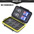 Free Shipping SDMSD12 Memory Card Case Anti-shock Waterproof Tough Micro SD Card Case for 4 SD Cards and 8 Micro SD Card Holder
