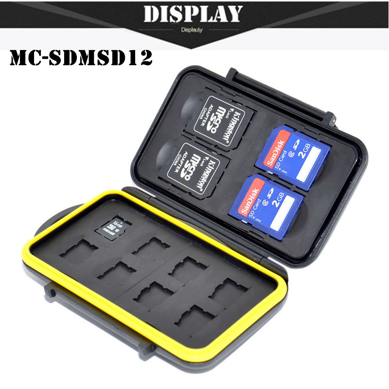Free Shipping SDMSD12 Memory sd Card Holder Case Anti-shock Waterproof Tough Micro SD Card Case for SD Cards and 8 Micro SD Card