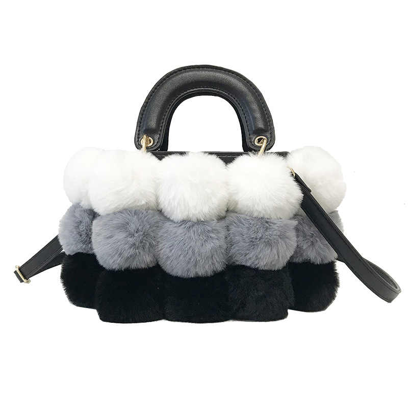 Winter Luxury New Ladies Cute Tote Bag 2018 Quality Pu Leather Women s  Designer Handbag Hair Ball bcccaf8bf6ba2