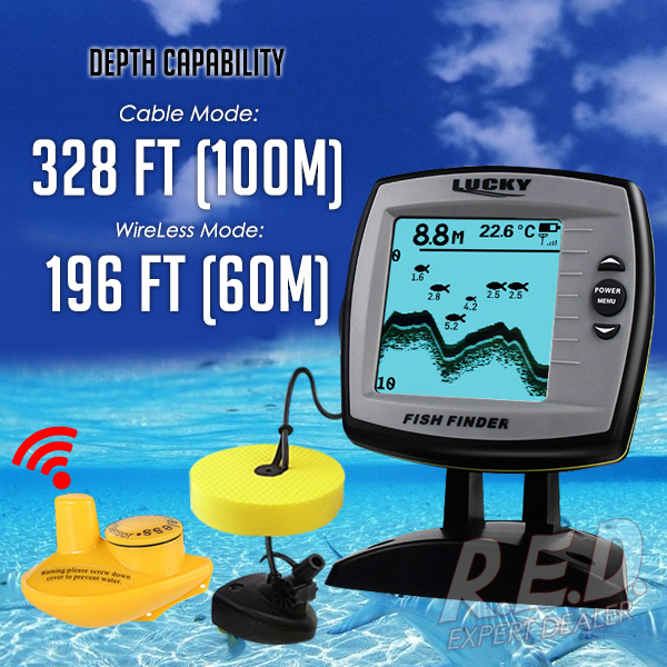 FF 918N2 LUCKY 2 in 1 Fish Finder 100m Wired 60m Wireless Depth Sounder Sensor Transducer
