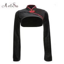ArtSu Chinese Style Vintage Red Black Shirt Womens Long Sleeve Tops Sexy Stand Collar Crop Top T-shirt Streetwear ASTS20599(China)