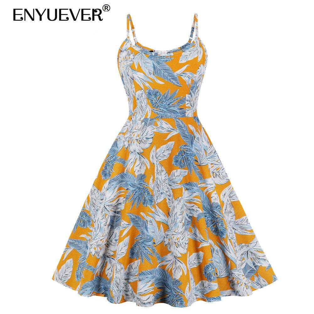 Женское Повседневное платье с цветочным принтом Enyuever, летнее платье на бретельках в стиле ретро, винтажное платье с карманами, сарафан Jurken