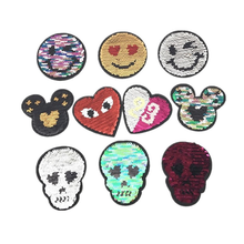 10pcs/lot Small  Round Sequins Embroidery Patches for Clothing Heart Eye Face Double-side Skull Strange Things