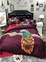 2018 Новый 3D Павлин Постельное белье 100 S Tencel 4 шт. постельный комплект king size Queen пододеяльник простыня набор наборы красный Утешитель