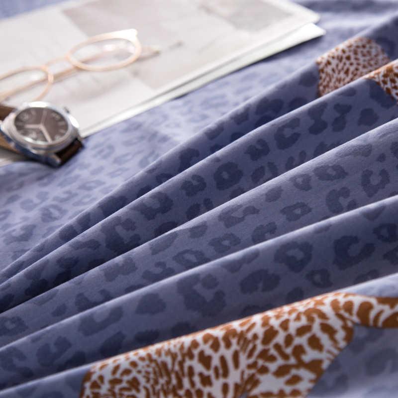 2018 Leopard Print Blue Bedding Set 4Pcs Queen King Size Egyptian Cotton Fabric Duvet Cover Flat Sheet Pillow Cases