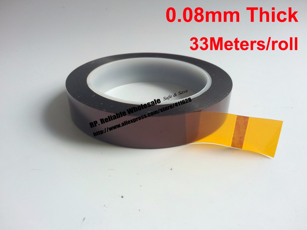 лучшая цена 0.08mm thick 235mm*33M Length, High Temperature Resist Poly imide tape fit for Electronic Switches, PCB Shield