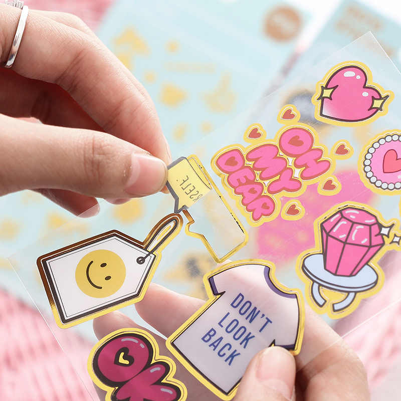 Cute Gold Heart Decorative Scrapbooking Stickers Bullet Journal Kawaii Handmade Diary Unicorn Japanese Stationery Sticker