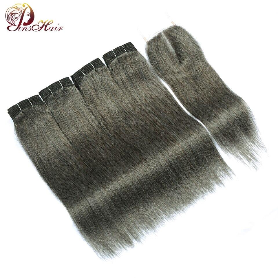 Lilen Gray Hair 4 Bundles Peruvian Straight Hair With Closure Brown Human Hair Weave Grey Bundles With Closure Pinshair Nonremy