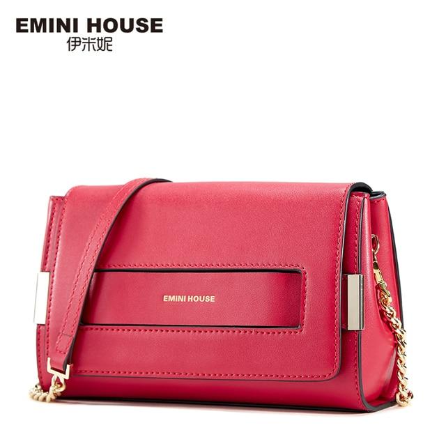 Эмини дом Разделение кожа клапаном сумка Новый Дизайн Для женщин Курьерские сумки Повседневное Клатчи Для женщин Сумки на плечо Мода Crossbody сумка