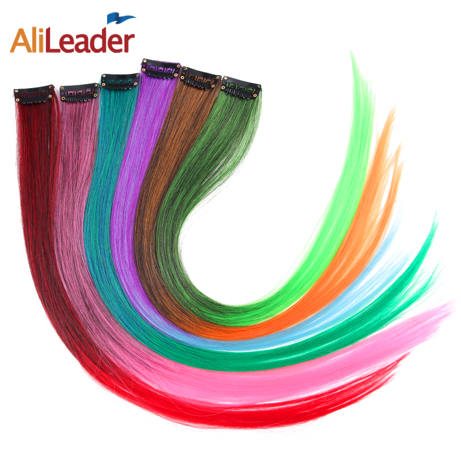 AliLeader Product 50CM Long Straight 1 Clip 1 Piece Clip In Hair Extensions Two Tone Synthetic Fake Hair Pieces Ombre 20 Colors