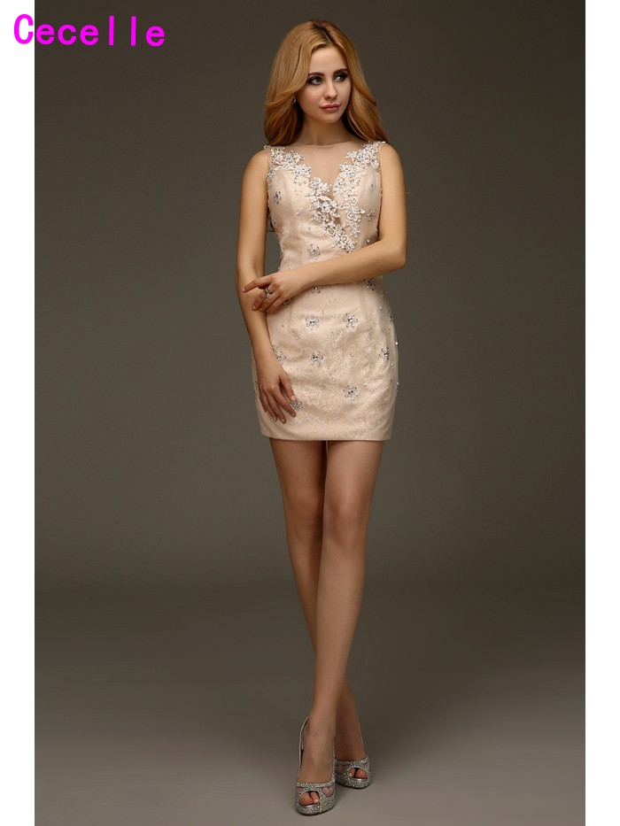 champagne short lace dress