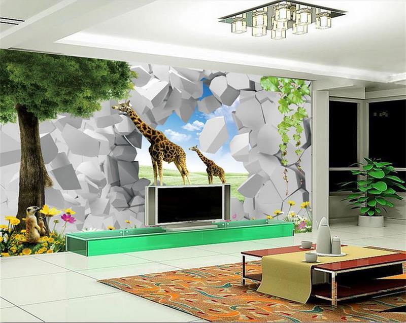 Behang Boom Kinderkamer : Custom 3d foto behang kinderkamer mural boom muur gat giraffe 3d