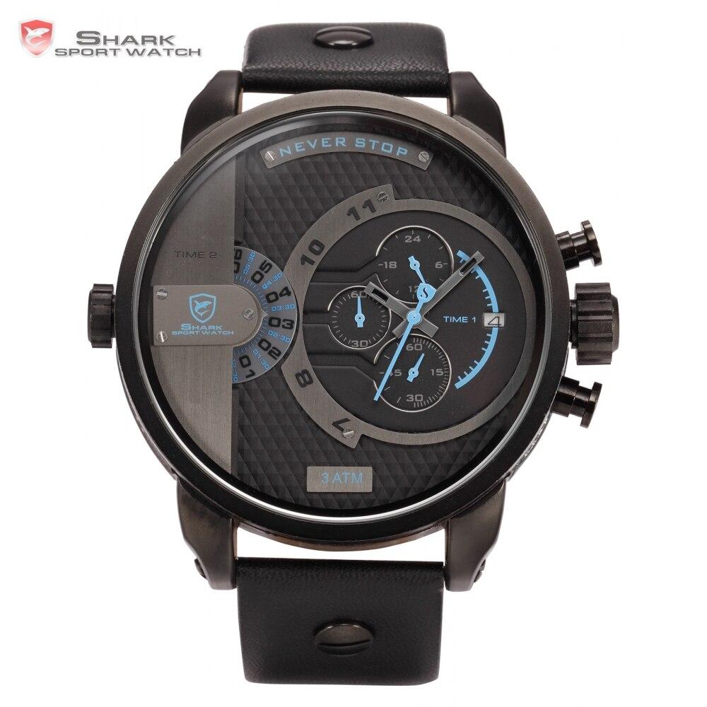 Luxury Leather Box WHALE Shark Sport Watch Leather Strap Watch Blue Dial Stopwatch Wrap Big Military Men Fashion Watches /SH160  sh brandmens dial sh035