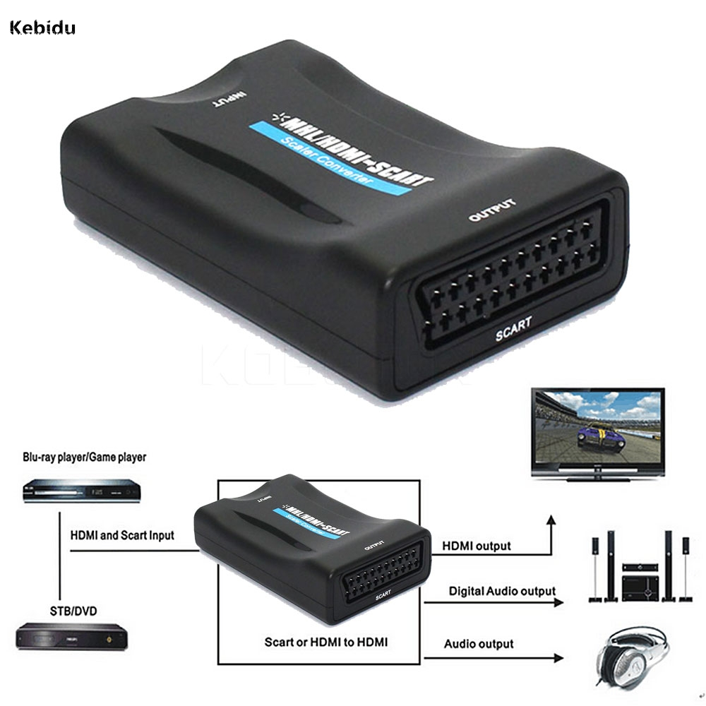 Kebidu New Hdmi To Scart Converter Av Signal Adapter
