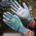 NMSafety Легкость удобная цветок печати полиэстер лайнер с покрытием PU перчатки, женщины мягкие перчатки сада, насекомых сопротивление перчатки