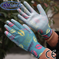 NMSafety Lightness comfortable flower print polyester liner coated PU gloves,women soft garden gloves,insect resistance glove
