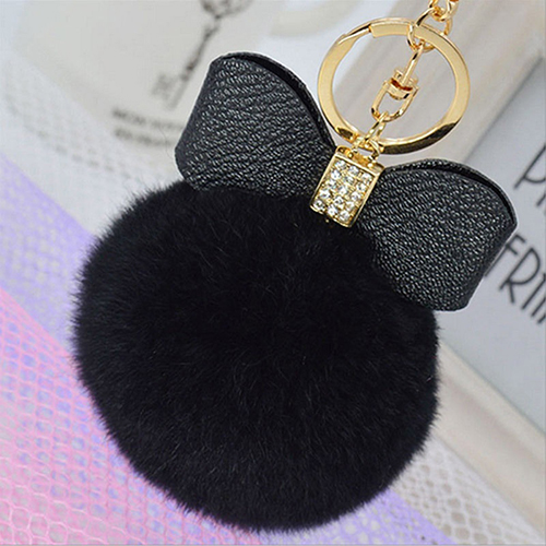 New Arrival Faux Rabbit Fur Pom Pom Fluffy Puff Ball Bowknot Car Bag Key  Chain Ring Keychain 9edb15c79