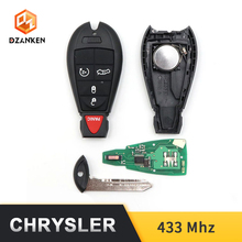 Dzanken 4 Buttons Remote Car Key 433MHZ for Dodge Chrysler Jeep& Transponder Chip& Uncut Blade