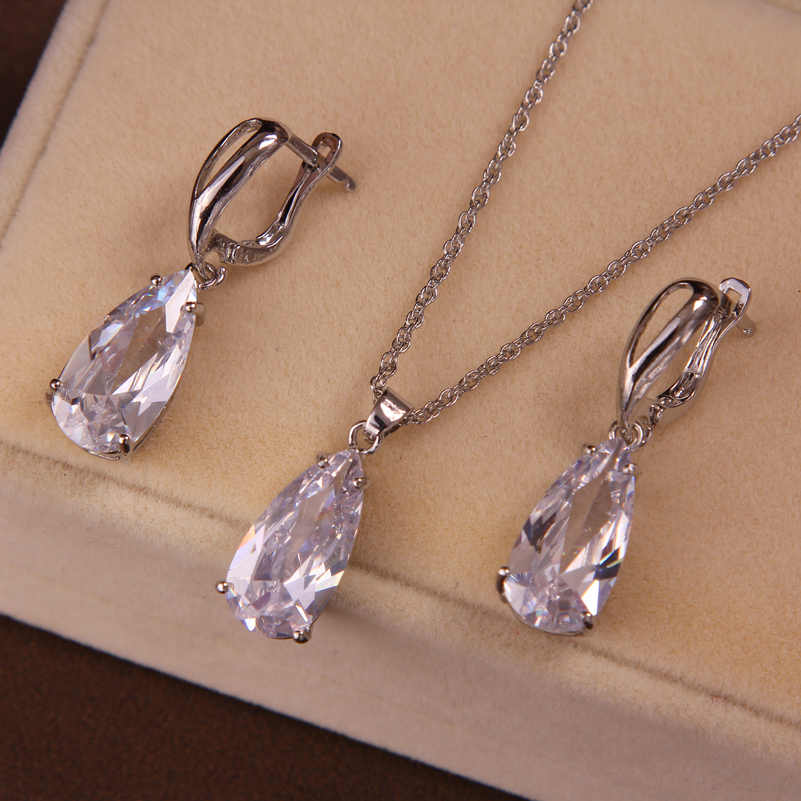 Fashion Bridal Best Gifts Silver Wedding Anniversary Jewelry Sets CZ Crystal Water Drop Pendant Necklace Earrings Set