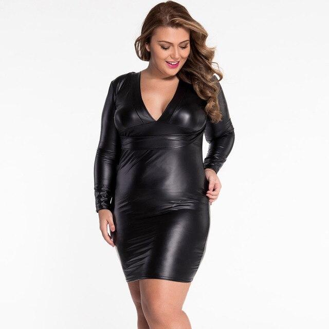 75542c2155055 Women Shiny Black Faux Leather Dress Long Sleeve Bodycon Mini Dress Deep V  Neck Patent Leather