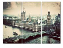 Luxry City building and Bridge 3 Panels Large HD Picture Canvas Print Painting Artwork Wall Decorative Oil painting(No Frame)