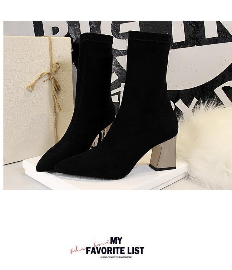 Chaussures Carré Mode Femmes Bottes Talon Pour Femme Khaki Zippé black Cheville Slim Chaussette 0nwNO8vm