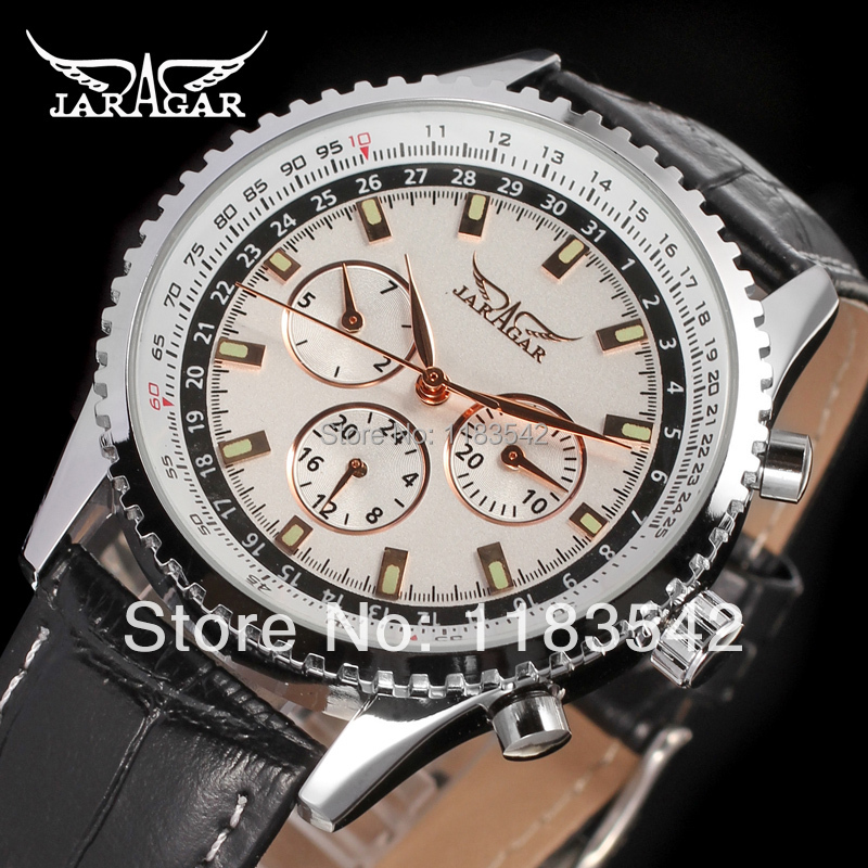 Подробнее о Jargar  new Automatic wristwatch silver color for men with black leather strap shipping  free JAG6034M3S1 jargar jag6070m3s2 new men automatic fashion watch silver wristwatch for men with black leather strap best gift free ship