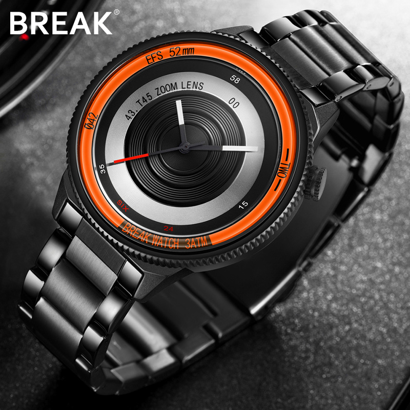 BREAK Top Luxury Brand Men Women Unique Creative lovers Watches Casual Fashion Quartz Sport WristWatch Stainless Steel Strap
