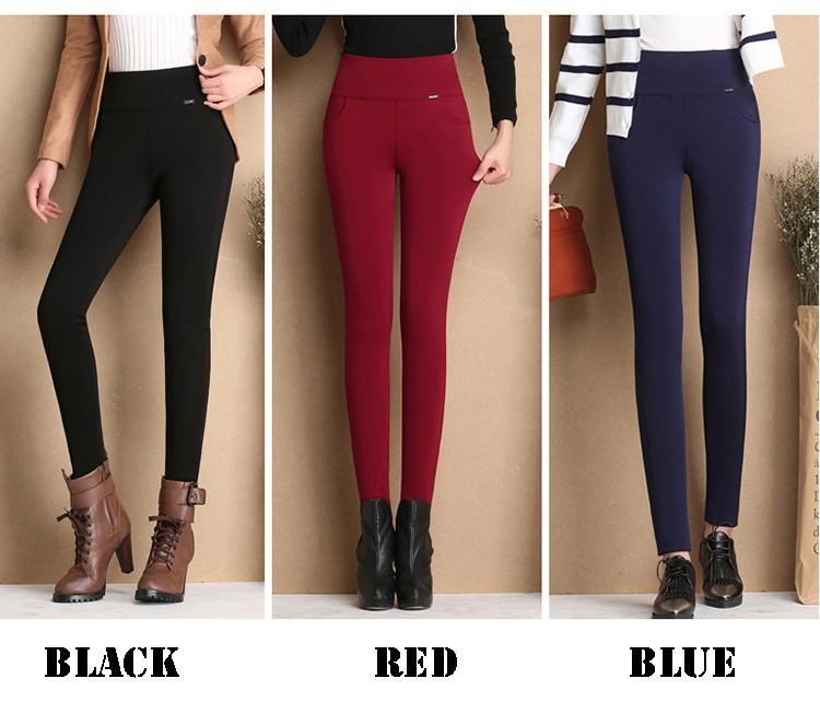 Thicken Warm Plus Velvet Women Trousers 16 Winter Black Red Blue High Waist Stretch Pencil Pants Female Fleece Office Pantalon 10