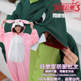 Free shipping hot sales 2013 new Flax cartoon dinosaur pajamas coral velvet Siamese couple men and women pajamas