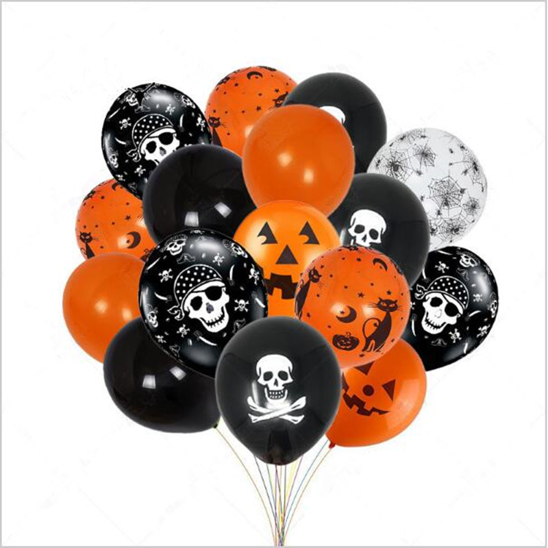 50 Pcs Halloween 12 Inches Latex Balloons in orange black and white