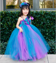 Children clothing Colorful Light blue girls dress Cute Mesh Princess dress Customize performance Girl dresses Dance