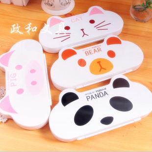Korea stationery animal stationery box tt single tier plastic child pencil case