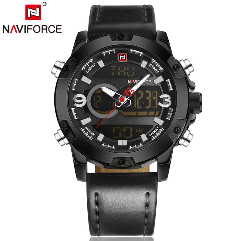Naviforce Watches Men Military Watch Analog Digital Led Display Clock Fashion Auto Date Alarm Waterproof Man Wristwatches LX75