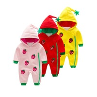 Baby Girls Hooded Strawberry Rompers Double Layer Fleeceoutwear Jumpsuits Sz 3 24 Month