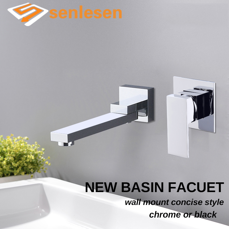 Senlesen Basin Faucet Chrome Black Brass Waterfall Spout HOt and Cold Mixer Tap Single Handle Wall Mounted Para Bathroom Sink luxury chrome wall mounted waterfall bathroom bathtub basin sink faucet mixer tap with brass spout