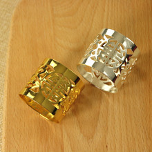 5PCS napkin ring buckle home soft decoration set tablecloth flower circle gold / silver