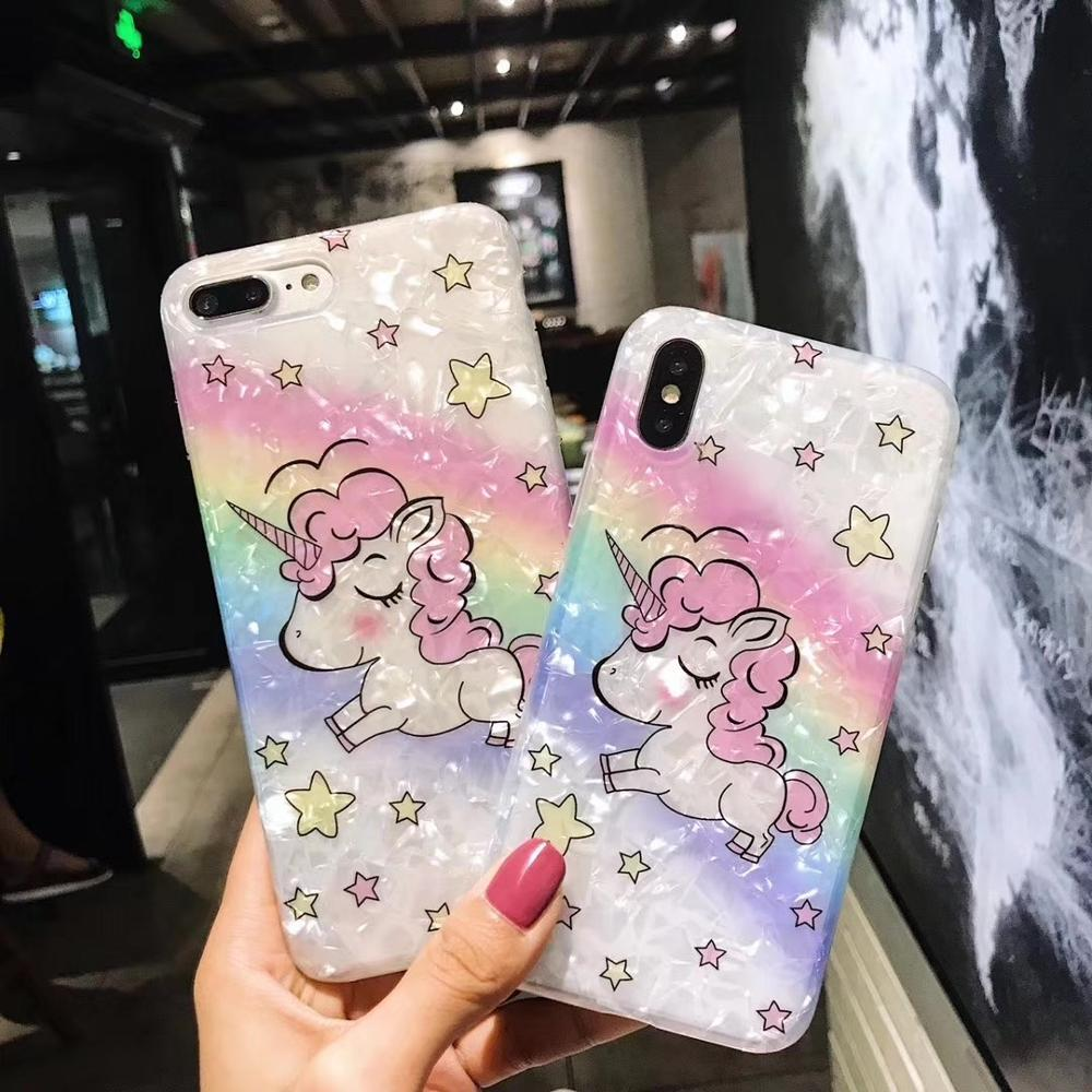 Chic Luxury Unicorn Rainbow Pearl Shine IMD Phone Case Soft TPU Back Cover Casing For iPhoneX 8 6s 7plus Skinny Shell Protection