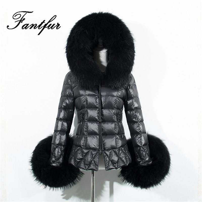 2017 New Women Winter Black Down Jacket Coats Thick Fur Parkas Large Faux Fur Collar Hooded Outwear Plus Size S-3XL inc new beige women s size small s faux leather knit motorcycle jacket $99