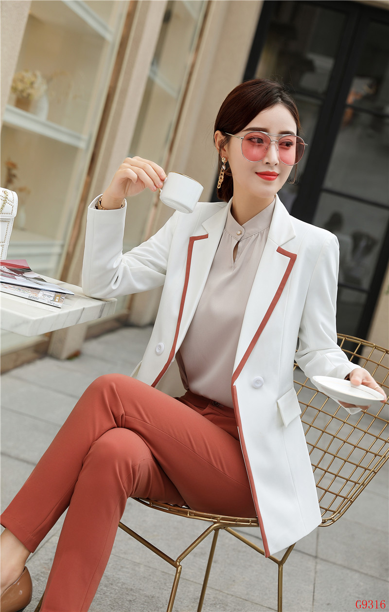 07eb5776fc878 Femmes Ensembles Élégante Costumes Wear Dames Pantalon Veste De Noir Et  D'affaires Avec Uniforme Blazer 2019 ...