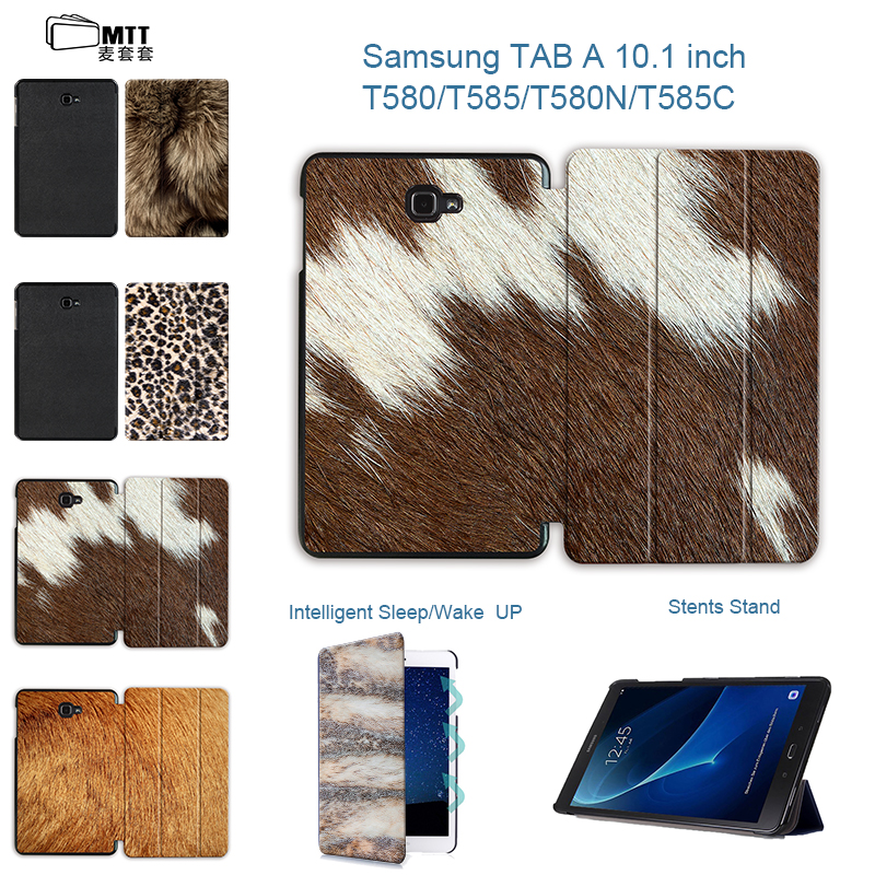 MTT Slim Leather Animal skins TriFold Stand sleep wake up Cover Case For Samsung Galaxy Tab A 10.1 2016 T580 T585 10.1 Tablet skins skins a200 ls