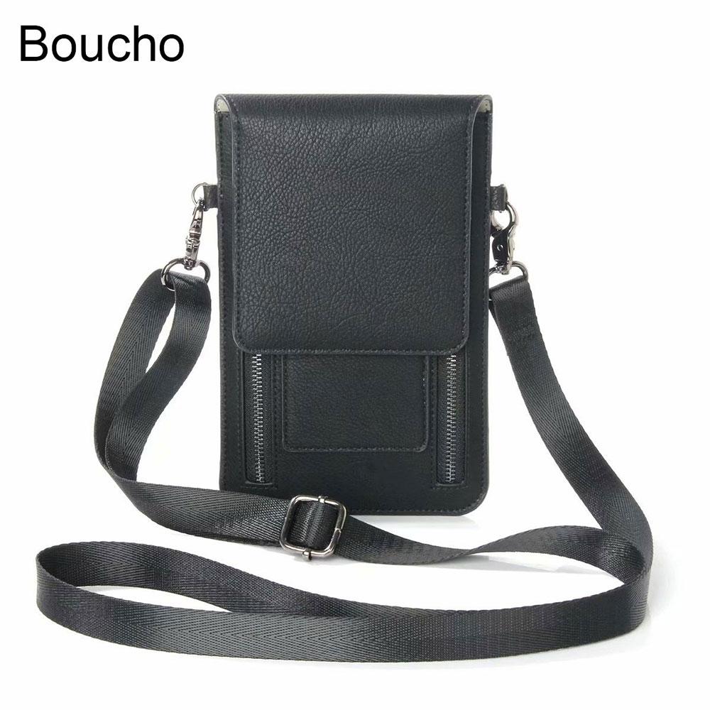 Boucho Vintage Universal Shoulder Bag Wallet Luxury 6.3 Inch Neck Strap Shoulder Bag For IPhone Samsung For Huawei Walle Package