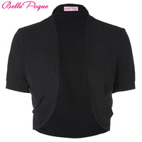 Elegant Ladies Shrug Bolero Casual Cotton Women Bomber Jacket Short Sleeve Pleated Open Stitch Womens Coats