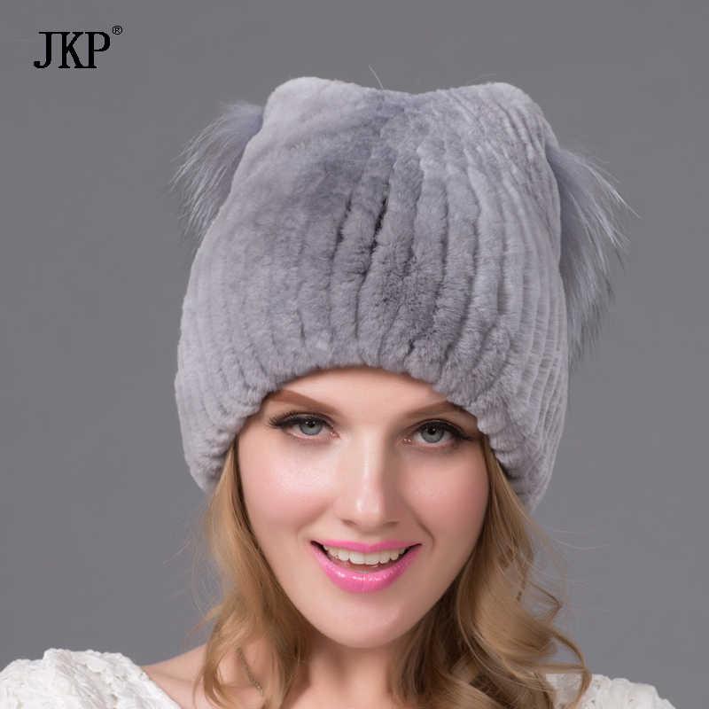 Réel naturel vison fourrure chapeau rex lapin oreille chaud laine tricot tricoté renard fourrure gland chapellerie chapellerie hiver