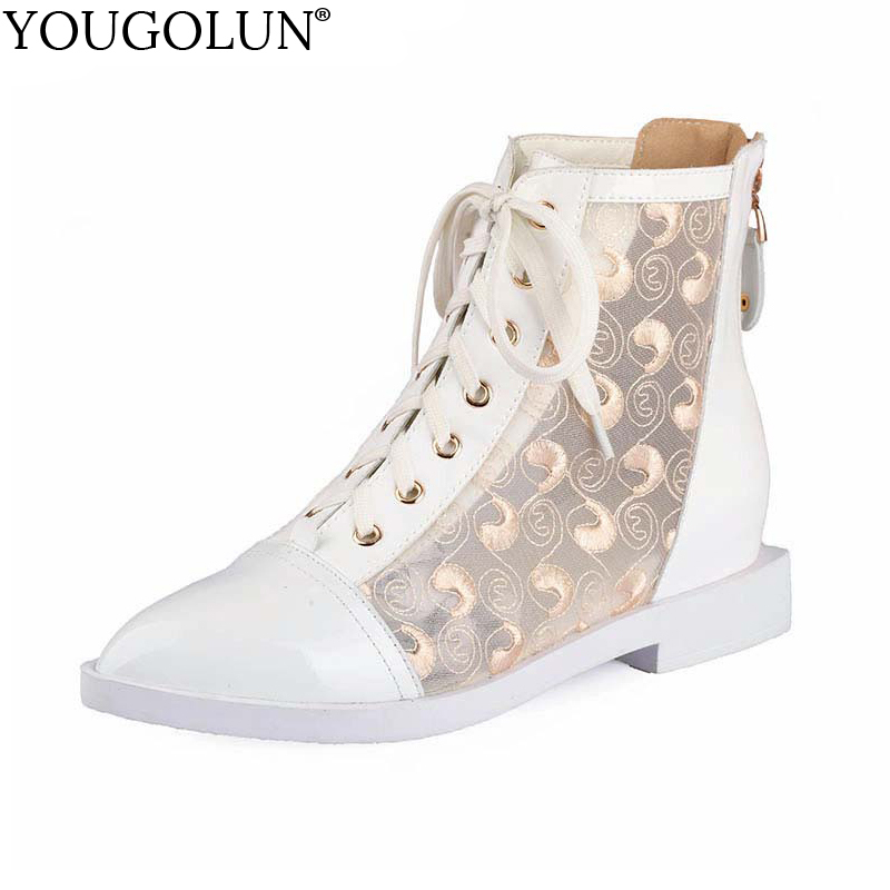 YOUGOLUN Summer Women Pointed toe Ankle Boots Genuine Leather Rivets Fashion Lace-up Low Thick Heels Ladies Apricot Lace Shoes brogue boots women summer genuine leather black ankle med heels lace up oxford shoes botas feminina chaussure femme talon